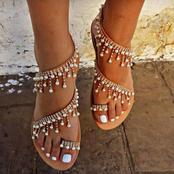Ankle Strap Slip-On Toe Ring Flat With Rhinestone Plain Sandals