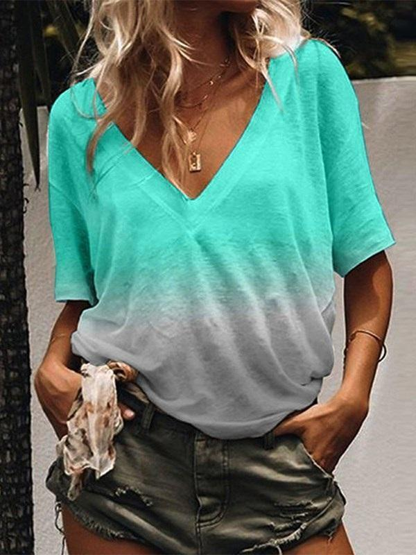 V-Neck Mid-Length Color Block Casual Loose T-Shirt