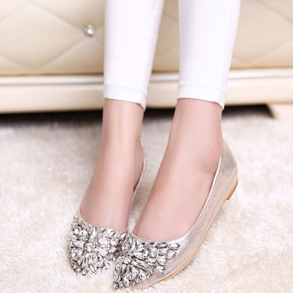 Slip-On Block Heel Rhinestone Pointed Toe 1cm Casual Thin Shoes