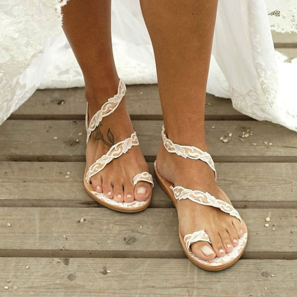 Slip-On Toe Ring Flat With Lace Wedding Sandals