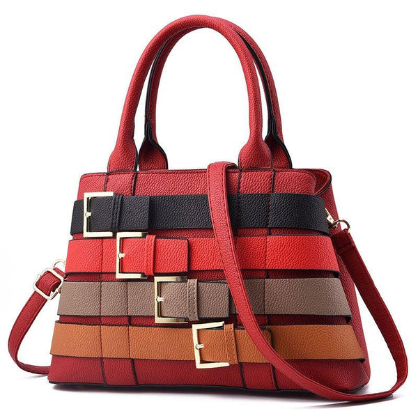 Stripe PU Belt-Decorated Square Tote Bags
