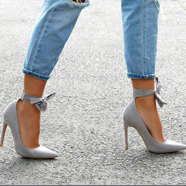 Lace-Up Bow Stiletto Heel Pointed Toe Ultra-High Heel Plain Thin Shoes