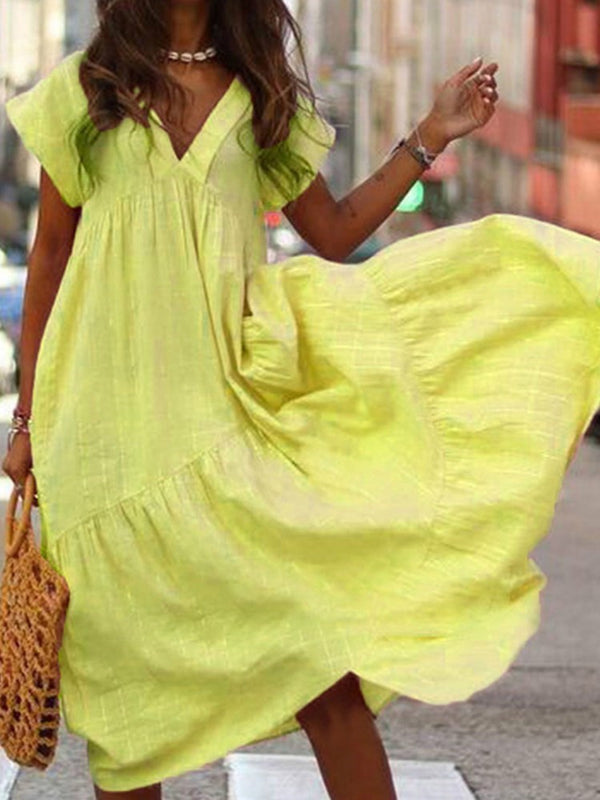 Ankle-Length V-Neck Short Sleeve Summer Travel Look Dress