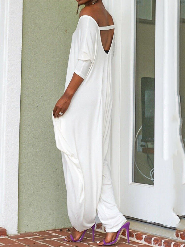 Plain Full Length Backless Loose Baggy Pants Jumpsuit