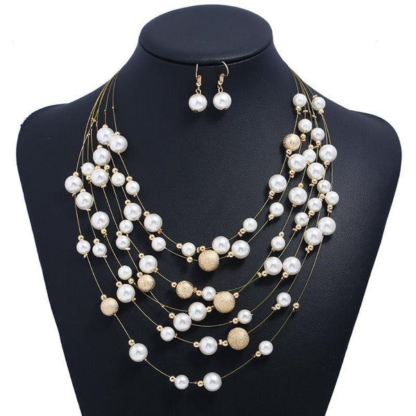 Pearl Inlaid Geometric Earrings Anniversary Jewelry Sets