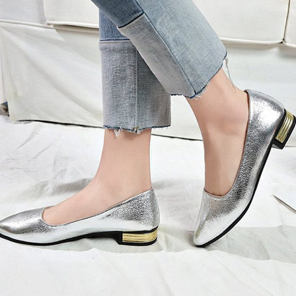 Slip-On Pointed Toe Block Heel Low-Cut Upper 2.5cm Thin Shoes