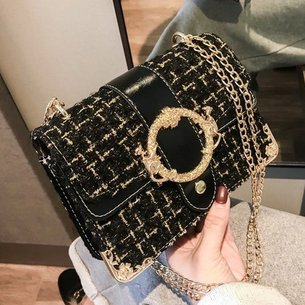 Chain PU Plaid Crossbody Bags
