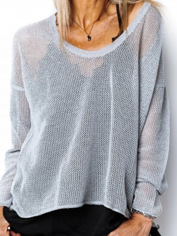 See-Through Thin Long Sleeve Loose Sweater