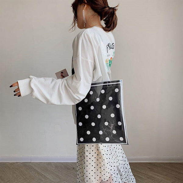 Thread PVC Polka Dots Rectangle Shoulder Bags