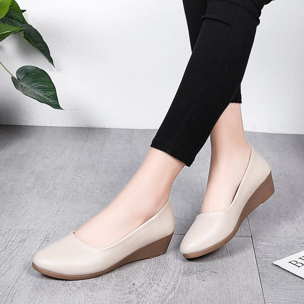 Round Toe Slip-On Wedge Heel 3.5cm Low-Cut Upper Thin Shoes
