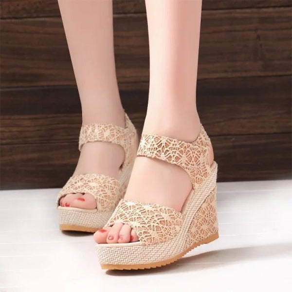 Peep Toe Velcro Wedge Heel Casual Lace Sandals