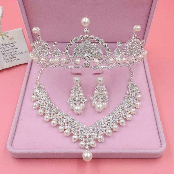 Tiara Pearl Inlaid Geometric Engagement Jewelry Sets