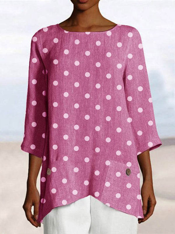 Mid-Length Round Neck Polka Dots Loose T-Shirt