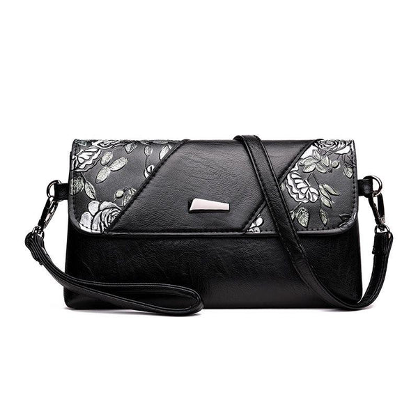 Print Floral PU Rectangle Crossbody Bags