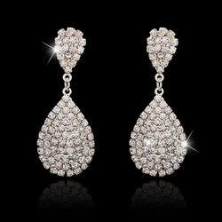 Water Drop Rhinestone Engagement Earrings