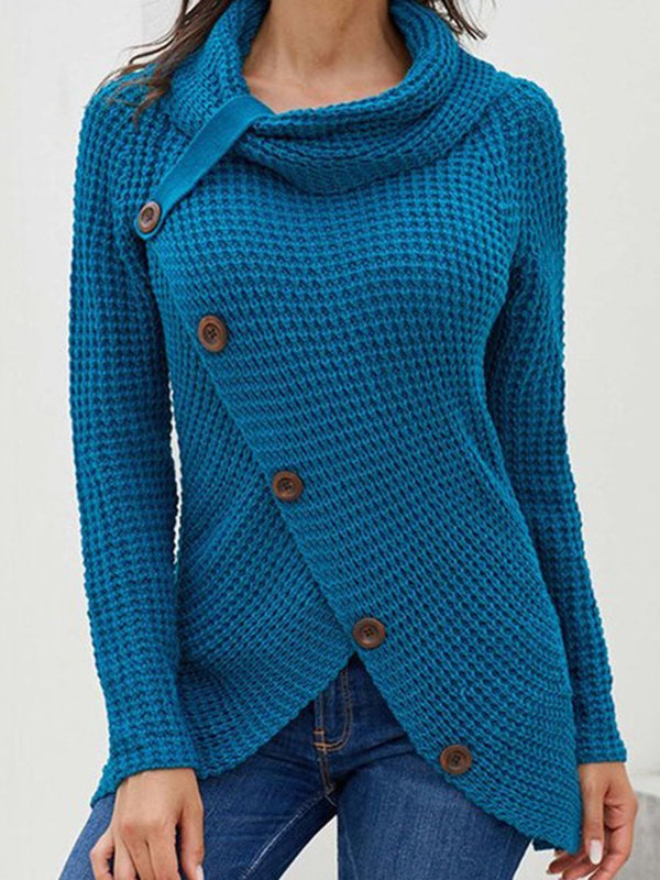 Asymmetric Mid-Length Slim Sweater