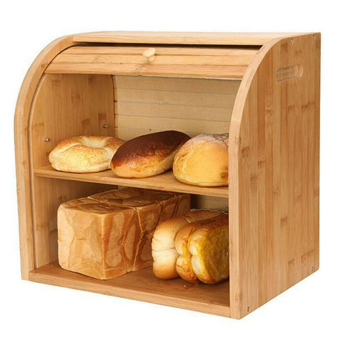 wooden bread box