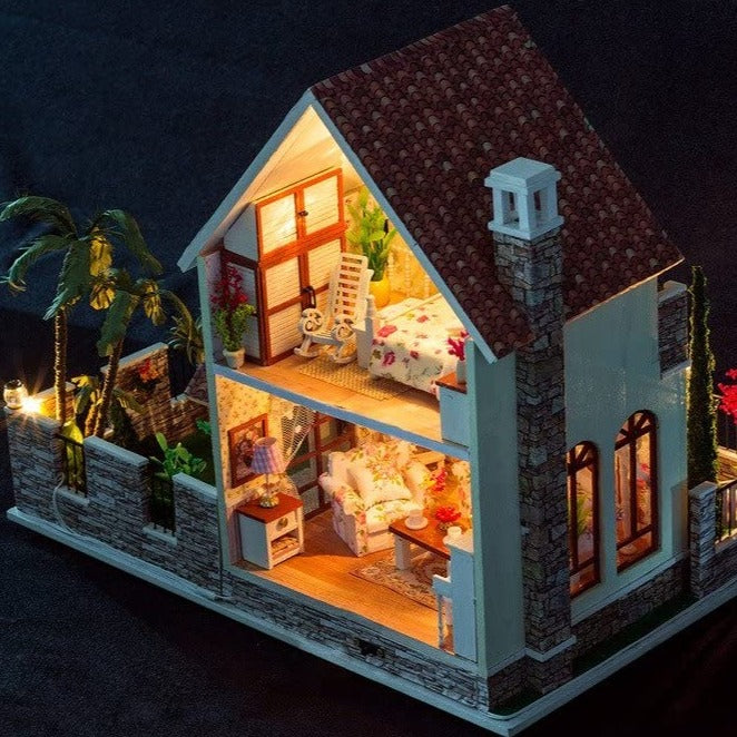 Vintage DIY Miniature Dollhouse Kit Mini 3d Wooden House LED - Morealis