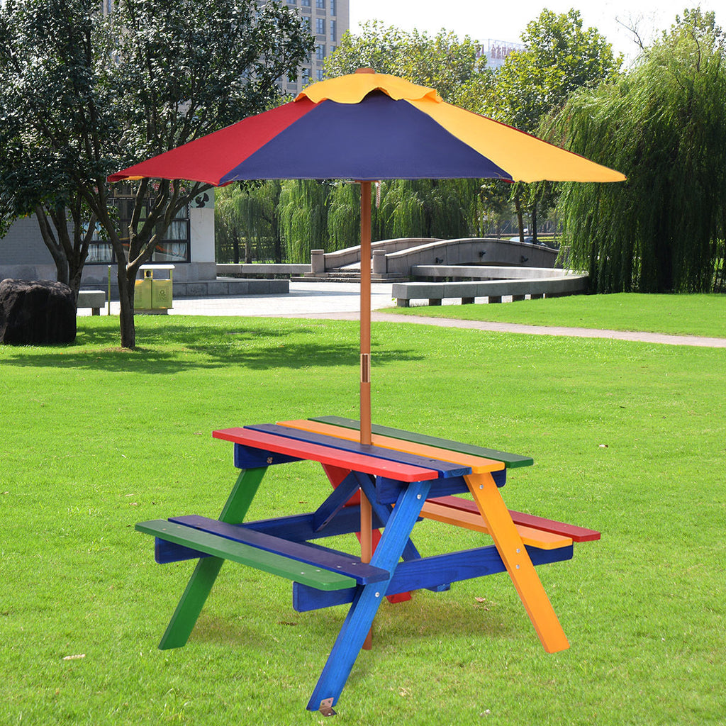 Kids Picnic Table Umbrella Garden Yard Folding Children Bench Outdoor - Morealis