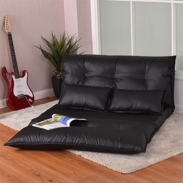 Premium Foldable Leather Floor Sofa Adjustable Leisure Sleeper Sofa Couch Bed - Morealis