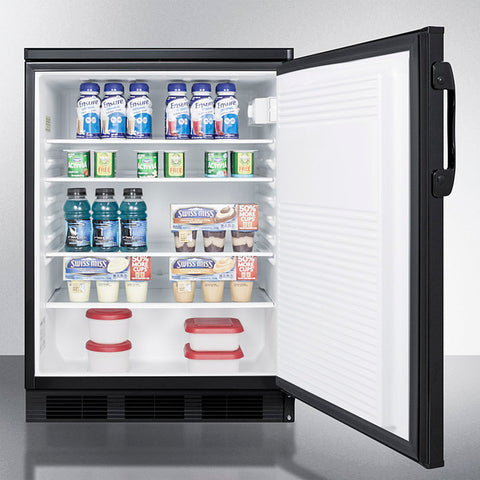 """Accucold 24"""" Wide All-Refrigerator with Front Lock and Black Exterior"""