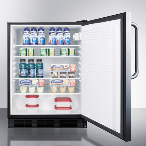 """Accucold 24"""" Wide Built-In All-Refrigerator ADA Compliant Auto Defrost with Stainless Steel Exterior"""