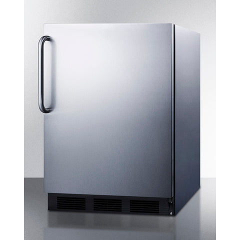 """Accucold 24"""" Wide Built-In All-Refrigerator Auto Defrost with Complete Stainless Steel Exterior"""