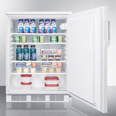 """Accucold 24"""" Wide Built-In All-Refrigerator in White Exterior"""