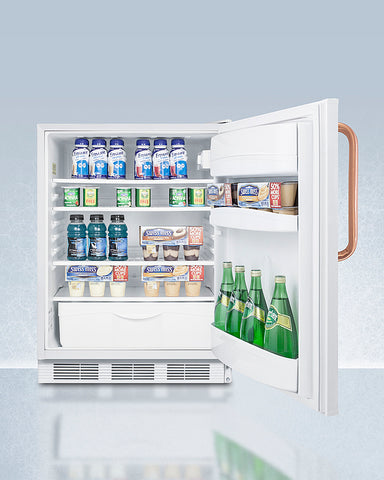 """Accucold 24"""" Wide Built-In All-Refrigerator with Antimicrobial Pure Copper Handle ADA Compliant"""