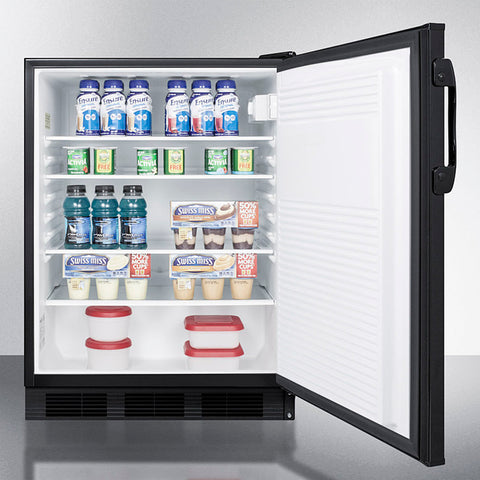 """Accucold 24"""" Wide Built-In All-Refrigerator with Auto Defrost and Black Exterior ADA Compliant"""