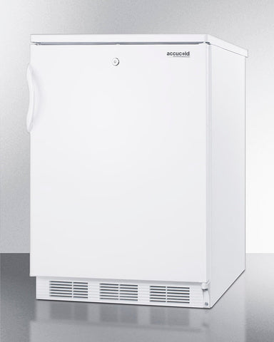 """Accucold 24"""" Wide Built-In All-Refrigerator with Automatic Defrost and White Exterior"""