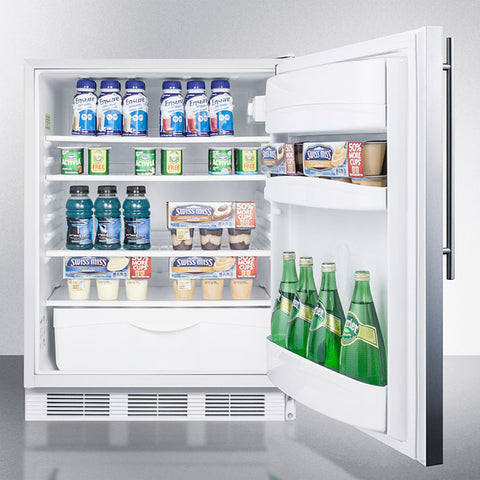 """Accucold 24"""" Wide Built-In All-Refrigerator with Thin Handle ADA Compliant"""