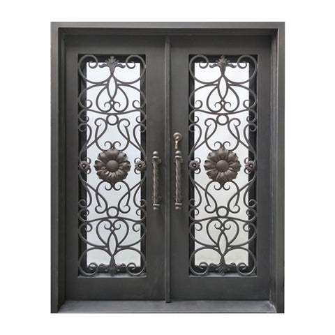 Aleko Iron Square Top Sunflower Dual Door with Frame and Threshold
