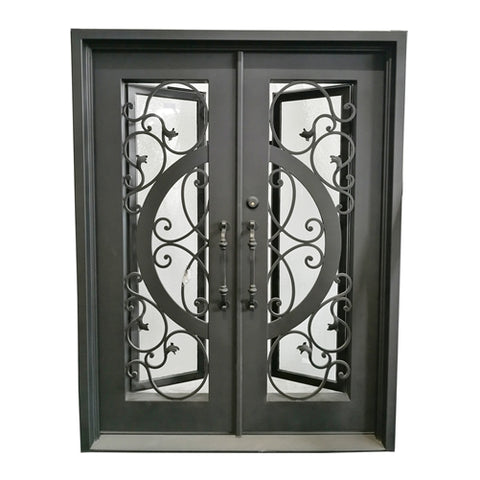 ALEKO IDQD38 Iron Vine and Curve Dual Door with Square Top Frame and Threshold