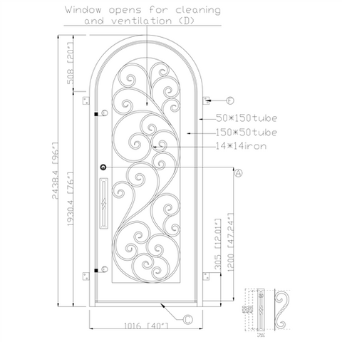 ALEKO IDR4096BZ09 Iron Round Top Twisted Vines Single Door with Frame and Threshold