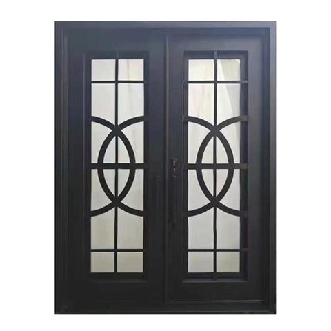 ALEKO IDR7296BK13 Iron Square Top Curvature-Designed Dual Door with Frame and Threshold