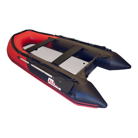 Aleko Inflatable Boat with Air Deck Floor 10.5 Ft Black and Red