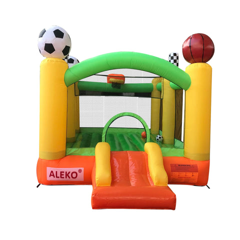 Aleko Inflatable Playtime 4-In-1 Bounce House with Basketball Rim, Soccer Arena, Volleyball Net, and Slide