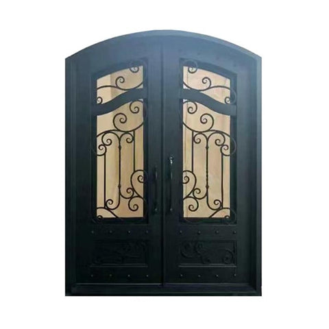 Aleko Iron Arched Top Dimensional-Panel Dual Door with Frame and Threshold