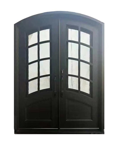 Aleko Iron Arched Top Minimalist Glass-Panel Dual Door with Frame and Threshold