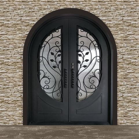 Aleko Iron Round Top Leaf Dual Door with Frame and Threshold