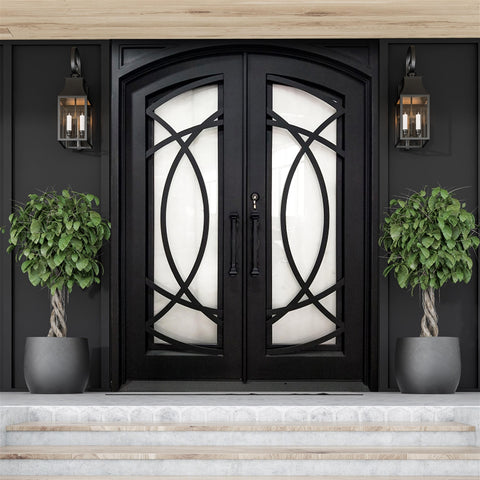 Aleko Iron Square Top Curvature-Designed Dual Door with Frame and Threshold