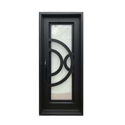 Aleko Iron Square Top Curved-Arc Design Single Door with Frame and Threshold