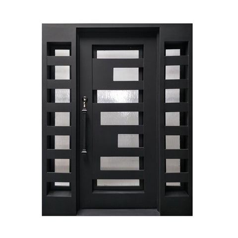 Aleko Iron Square Top Geometric-Embossed Single Door with Frame and Threshold