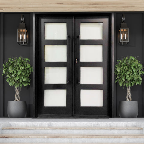 Aleko Iron Square Top Minimalist Glass-Panel Dual Door with Frame and Threshold