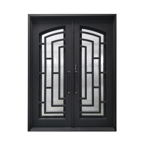 Aleko Iron Square Top Modern Dual Door with Frame and Threshold