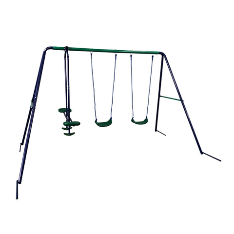 Aleko Outdoor Sturdy Child Swing Set with 2 Swings and 1 Glider Blue and Green