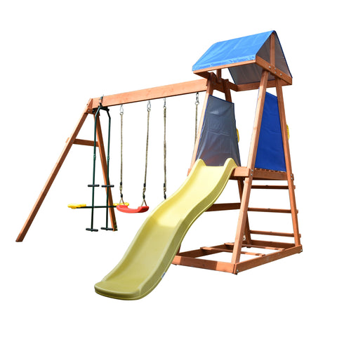 Aleko Outdoor Wooden Swing Playset with Dual Swings, Slide, Glider, and Shaded Fort