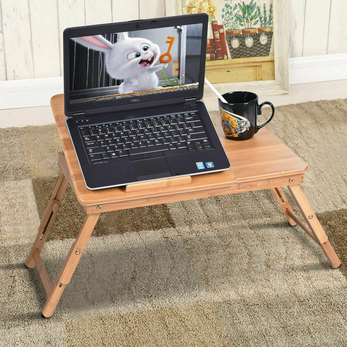 Bamboo Bed Table Desk Portable Over the Bed Couch Laptop Table - Morealis
