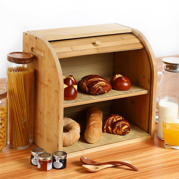 Bamboo Wooden Bread Box Farmhouse Large Storage Container - Morealis
